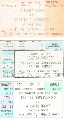 Seattle Supersonics lot of 3 vintage ticket stubs (Gary Payton)