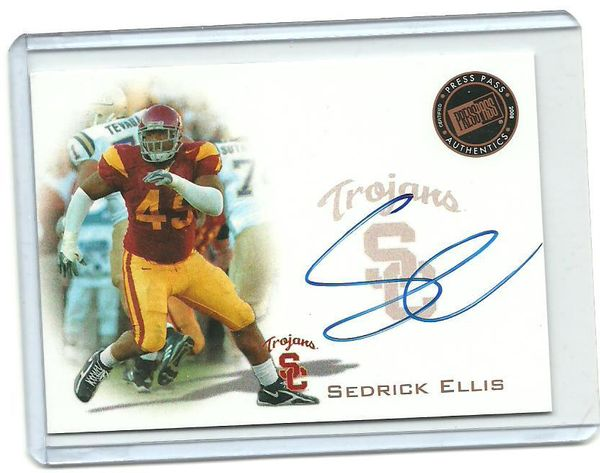 Sedrick Ellis certified autograph USC Trojans 2008 Press Pass card