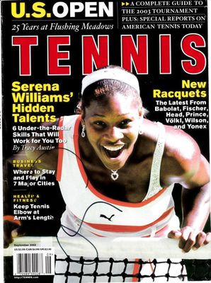 Serena Williams autographed September 2003 Tennis magazine cover