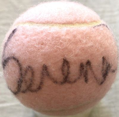 Serena Williams autographed pink tennis ball