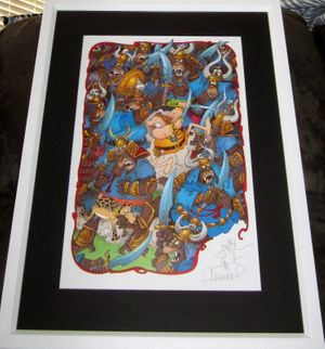 Sergio Aragones autographed Groo fighting apes 11x17 lithograph with sketch matted and framed