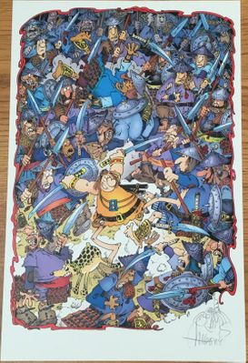 Sergio Aragones autographed Groo fighting army 11x17 lithograph with sketch