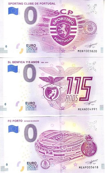 Set of 3 2019 Sporting Clube Portugal FC Porto and SL Benfica zero Euro souvenir banknotes MINT