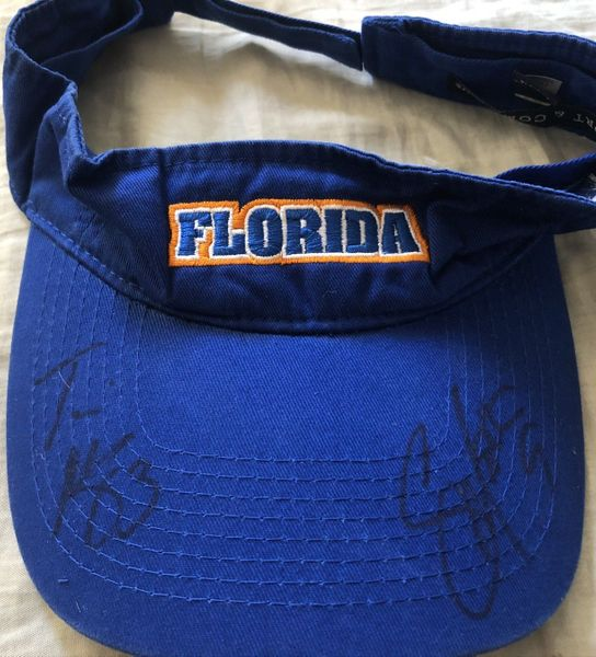 Shane Matthews and Travis McGriff autographed blue Florida visor