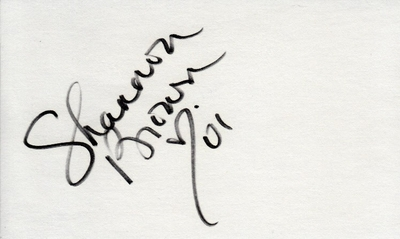 Shannon Brown autographed index card