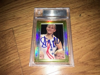 Shannon Miller and Dominique Moceanu 2014 Leaf Masterpiece Cut Signature 1/1 JSA BGS