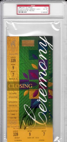 Shannon Miller autographed 1996 Olympic Closing Ceremony full ticket PSA/DNA graded PSA 6