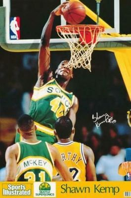 Shawn Kemp Seattle Sonics 1990 Sports Illustrated mini poster