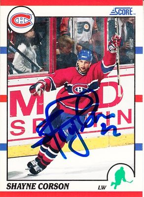 Shayne Corson autographed Montreal Canadiens 1990-91 Score card