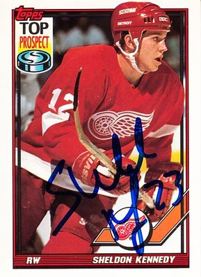 Sheldon Kennedy autographed Detroit Red Wings 1991-92 Topps card