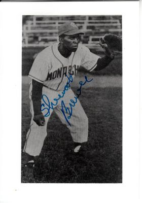Sherwood Brewer autographed Kansas City Monarchs 3 1/2 by 5 black & white photo
