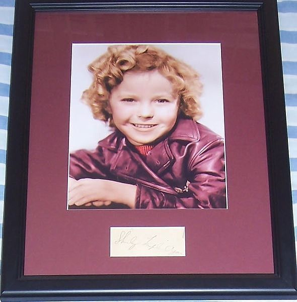 Shirley Temple autograph matted and framed with vintage 8x10 portrait photo