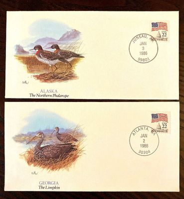 1986 Shorebirds of the 50 States Alaska and Georgia Fleetwood cachet envelopes lot of 2