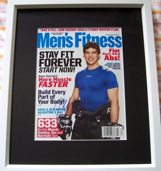 Sidney Crosby autographed Men's Fitness magazine cover matted and framed