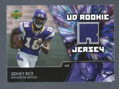 Sidney Rice Minnesota Vikings 2007 Upper Deck Rookie event worn jersey swatch card