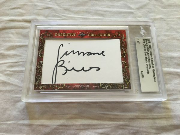 Simone Biles and Laurie Hernandez 2018 Leaf Masterpiece Cut Signature certified autograph card 1/1 JSA
