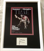 Simone Biles autograph matted and framed with 2016 Time magazine cover print