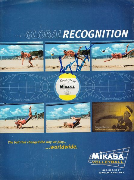 Sinjin Smith autographed Mikasa volleyball full page magazine ad
