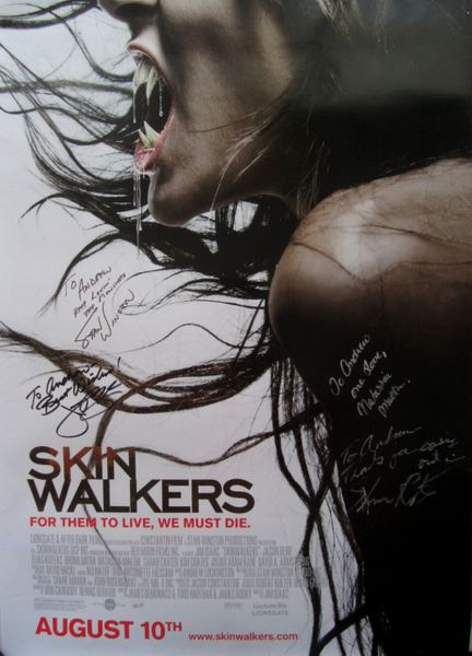 Skinwalkers cast autographed full size 27x40 movie poster Natassia Malthe Shawn Roberts Stan Winston (to Andrew)