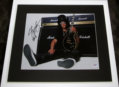 Slash autographed 11x14 inch portrait photo matted & framed (PSA/DNA)