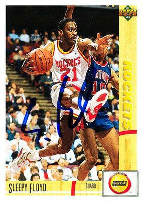 Sleepy Floyd autographed Houston Rockets 1991-92 Upper Deck card