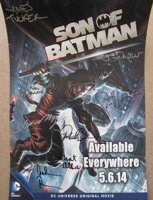 Son of Batman cast autographed 2014 Wondercon movie poster (Jason O'Mara Xander Berkeley Sean Maher)
