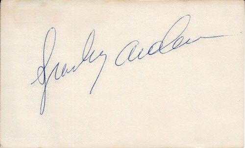 Sparky Anderson autographed 3x5 index card