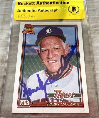 Sparky Anderson autographed Detroit Tigers 1991 Topps card (BAS authenticated)