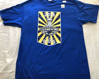 St. Louis Blues 2019 Stanley Cup Champions double sided blue Port & Company T-shirt NEW WITH TAGS