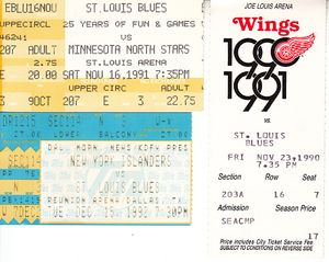 St. Louis Blues lot of 3 vintage early 1990s ticket stubs (Brett Hull)