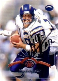 Stan Humphries autographed San Diego Chargers 1997 Leaf card