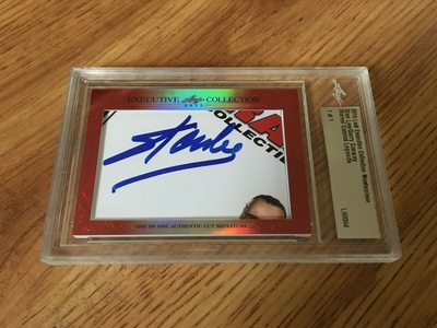 Stan Lee and Gerry Conway 2015 Leaf Masterpiece Cut Signature certified autograph card 1/1 JSA Marvel