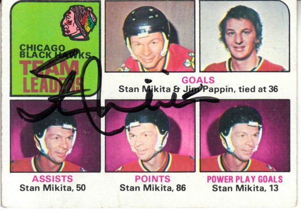 Stan Mikita autographed Chicago Blackhawks 1975-76 Topps Team Leaders card