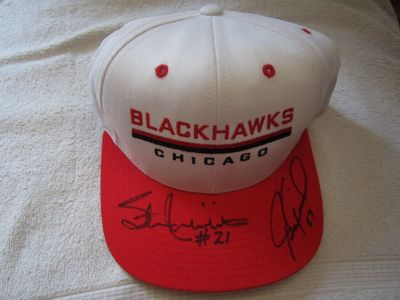 Stan Mikita & Jeremy Roenick autographed Chicago Blackhawks cap or hat