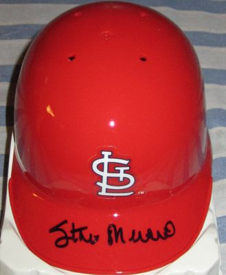Stan Musial autographed St. Louis Cardinals Riddell mini batting helmet