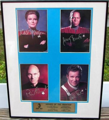 Star Trek Captains autographed photos matted and framed to 16x20 (William Shatner Patrick Stewart Avery Brooks Kate Mulgrew) #300/995