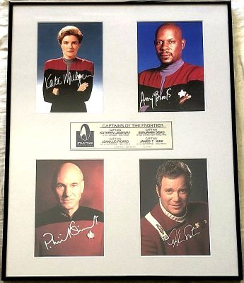 Star Trek Captains autographed photos matted and framed to 16x20 (William Shatner Patrick Stewart Avery Brooks Kate Mulgrew) #517/995