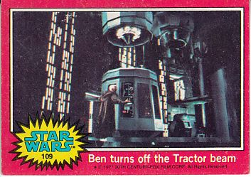 Star Wars 1977 Topps red Series 2 card #109 Ben turns off the Tractor beam