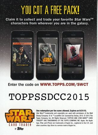 Han Solo Star Wars Card Trader 2015 Comic-Con exclusive Topps promo card