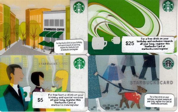 Lot of 4 different Starbucks gift cards (2009 Holiday 2010 2011 and 2012)