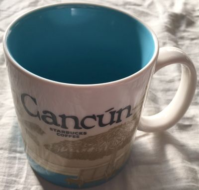 Starbucks 2008 Global Icon Series Cancun 16 ounce collector coffee mug NEW