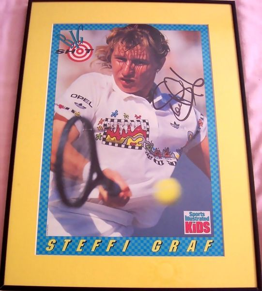 Steffi Graf autographed Sports Illustrated for Kids tennis poster matted and framed
