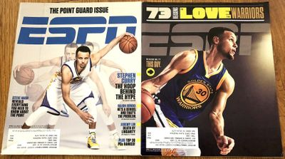 Steph Curry Golden State Warriors 2015 and 2016 ESPN magazines