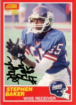 Stephen Baker autographed New York Giants 1989 Score card