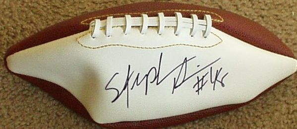 Stephen Davis autographed white panel football