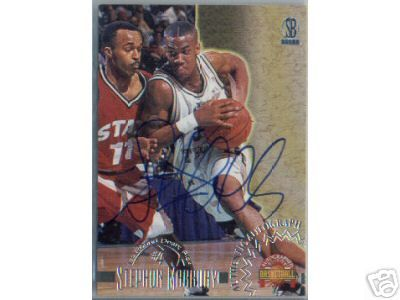 Stephon Marbury certified autograph Georgia Tech 1996 Score Board card