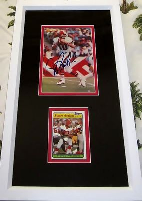 Steve Bartkowski autographed Atlanta Falcons 4x6 photo card framed with 1981 Topps card