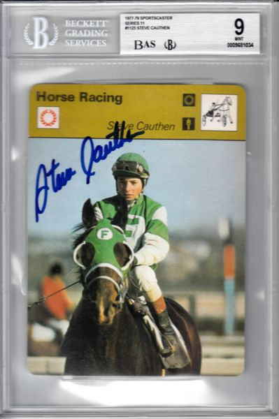 Steve Cauthen autographed 1977 Sportscaster card Beckett Authenticated BGS graded 9 MINT