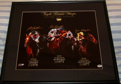 Steve Cauthen Jean Cruguet Ron Turcotte autographed Triple Crown 16x20 poster size photo matted and framed (PSA/DNA)