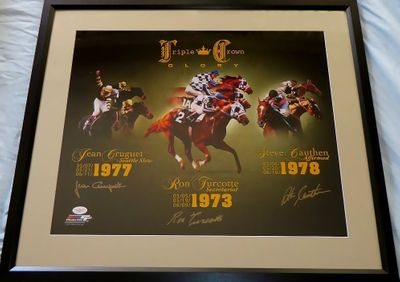 Steve Cauthen Jean Cruguet Ron Turcotte autographed Triple Crown 16x20 poster size photo matted and framed (JSA)